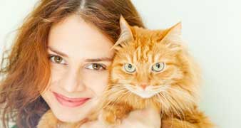 Cat with young woman