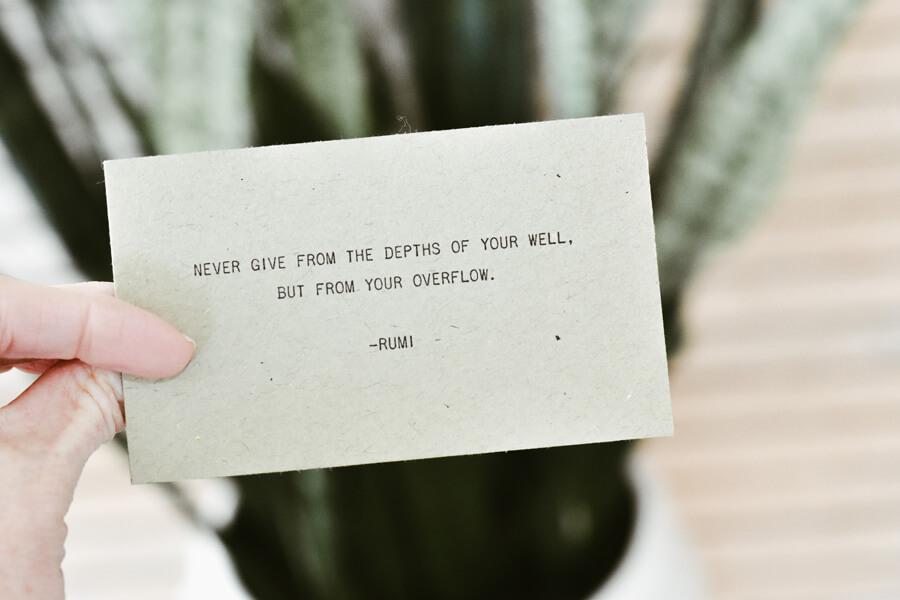 business card, inspiring words