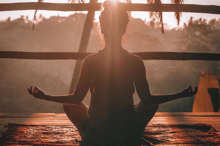 woman doing yoga, ubud, bali