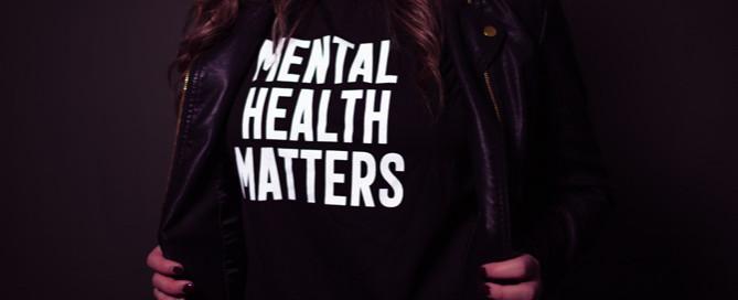 woman wearing mental health t-shirt